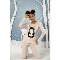 بلوز شلوار زنانه نرمال سیاه اینجه طرح پنگوئن شاخ دار